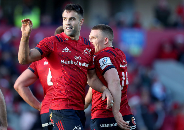 Conor Murray and Andrew Conway after CJ Stander's try