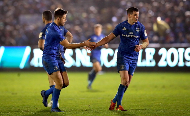 Ross Byrne celebrates scoring a late penalty with Johnny Sexton