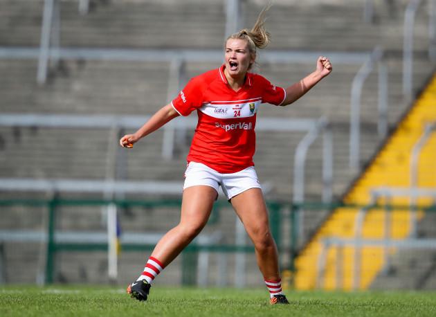 Saoirse Noonan celebrates scoring a goal