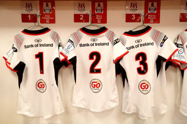 A general view Eric O'Sullivan, Rory Best and Marty Moore's Ulster jerseys