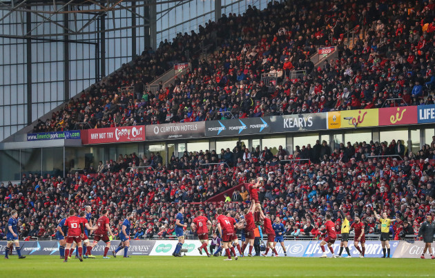 A view of a sold out Thomond Park during the game