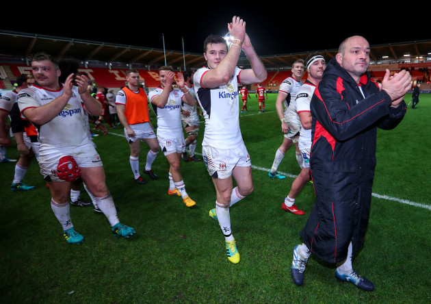 Jacob Stockdale and Rory Best after the game