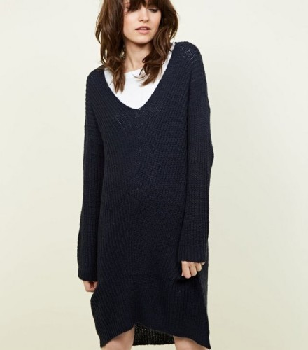jdy-navy-v-neck-knitted-dress