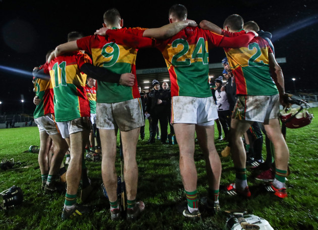 Colm Bonnar speaks to his team after the opening game of the Walsh Cup.