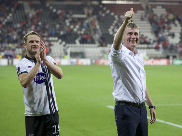 Dane Massey and Stephen Kenny celebrate after the game