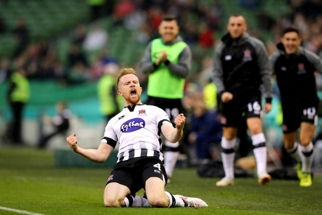 Sean Hoare celebrates scoring