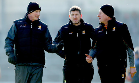 Brian Cody with Derek Lyng and Michael Dempsey
