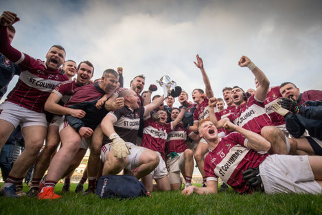 Mullinalaghta celebrate with the trophy after the game