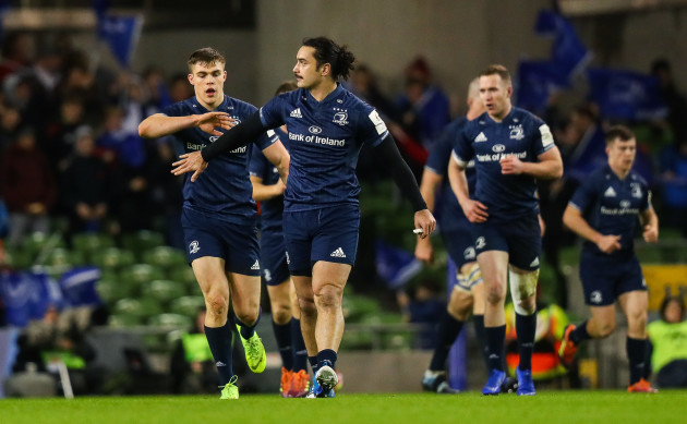 James Lowe celebrates scoring a try with Garry Ringrose