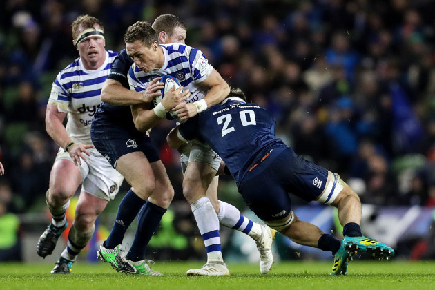 James Wilson tackled by Sean Cronin and Rhys Ruddock