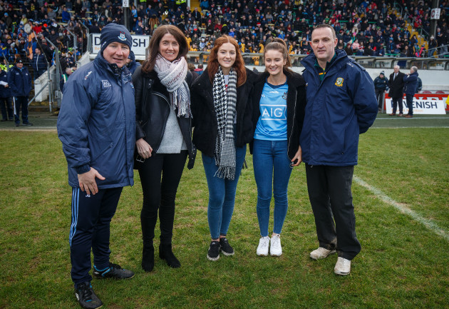 Martina, Emma and Shauna Cox with Jim Gavin and Andy McEntee