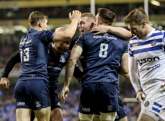 Jack Conan celebrates scoring a try with Garry Ringrose, James Lowe and Dan Leavy