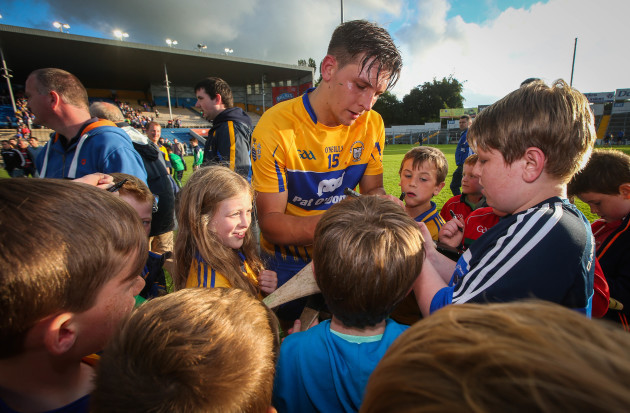 Aron Shanagher with fans after the game