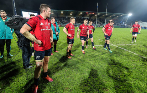 Peter O'Mahony, Dave Kilcoyne, Andrew Conway, Rory Scannell, Keith Earls and JJ Hanrahan dejected after the game