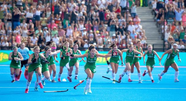 Ireland celebrate winning the shoot out