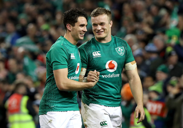 Joey Carbery and Josh van der Flier celebrate after the game