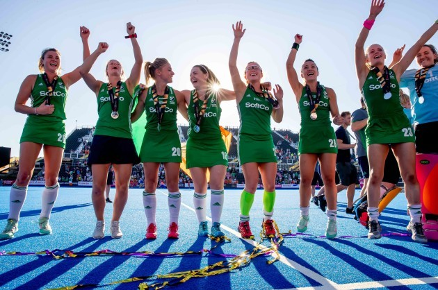 Ireland players celebrate with their silver medals