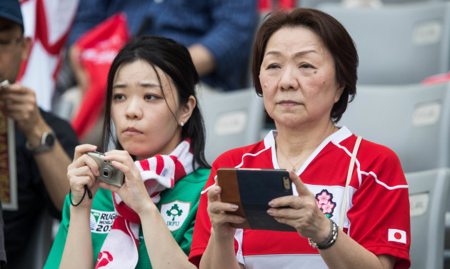 Ireland and Japan fans in the crowd