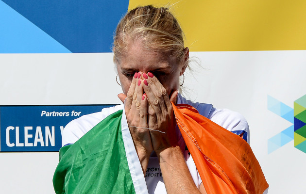 Sanita Puspure becomes emotional after winning the gold medal