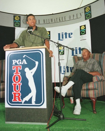 Tiger Woods and his father Earl 28/8/1996