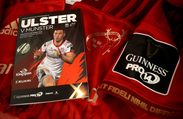 A view of a Munster jersey and match programme ahead of the game
