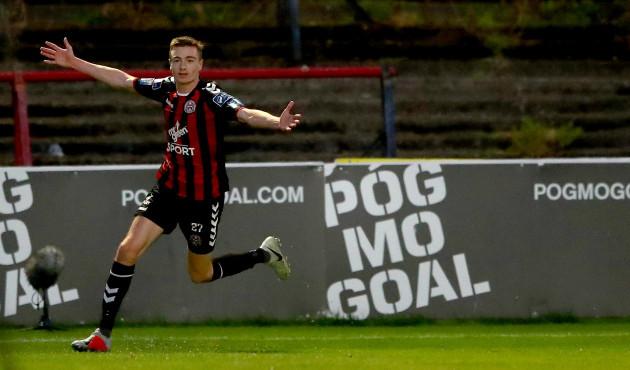 Daniel Kelly celebrates scoring his side's second goal