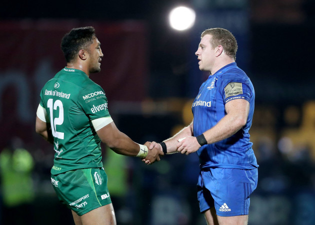 Bundee Aki and Sean Cronin at the final whistle