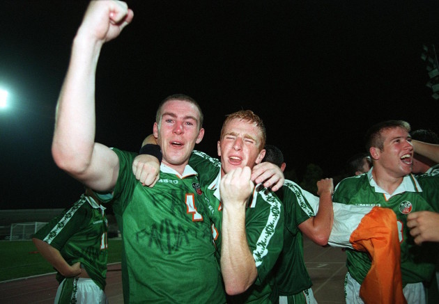 Richard Dunne and Thomas Heary celebrate 26/7/1998