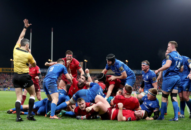 Chris Cloete scores a try as Conor Murray and Jean Kleyn celebrate