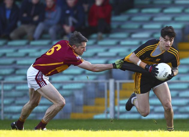 Tony Brosnan tackled by Gordon Kelly