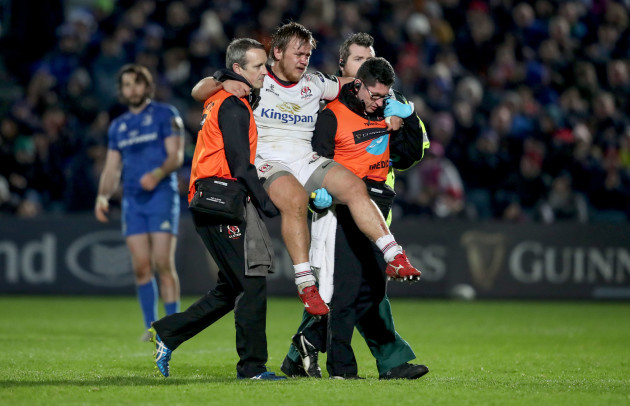 Kyle McCall leave the pitch injured