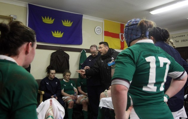 Justin Fitzpatrick talks to the players