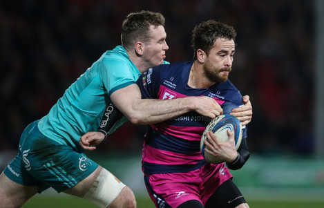 Danny Cipriani tackled by Chris Farrell