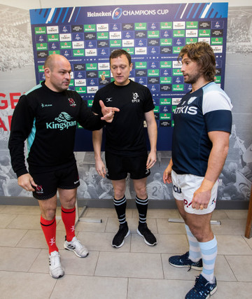 Rory Best with Matthew Carley and Dimitri Szarzewski at the coin toss