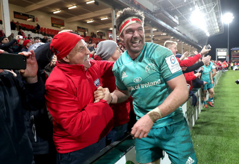 Billy Holland celebrates with Gerry Murray after the game