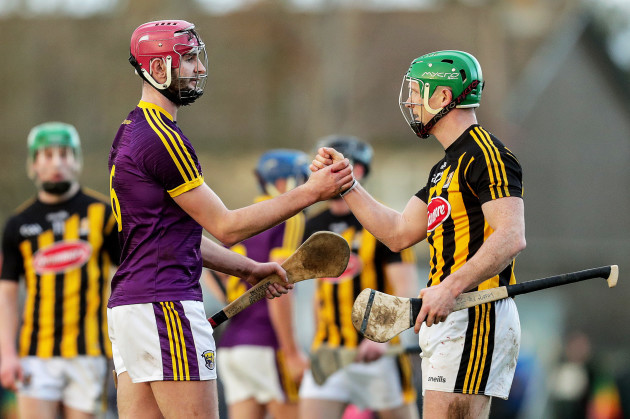 Paudie Foley and Paul Murphy shake hands after the game