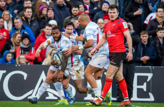 Virimi Vakatawa is congratulated by Simon Zebo and Henry Chavancy after scoring a try