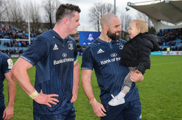 James Ryan with Scott Fardy and his son August after the game