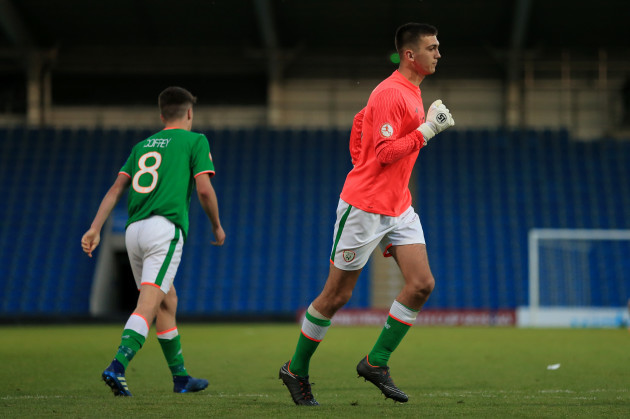 Oisin McEntee goes in goal after Jimmy Corcoran was sent off
