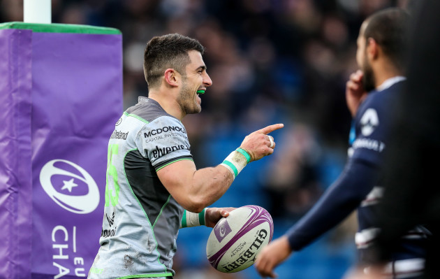 Tiernan O'Halloran celebrates his try