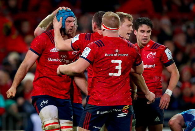 Tadhg Beirne is congratulated after winning back possession