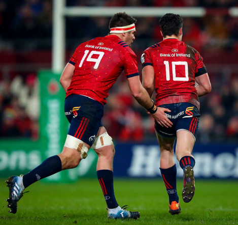 Billy Holland with Joey Carbery after he scores a penalty