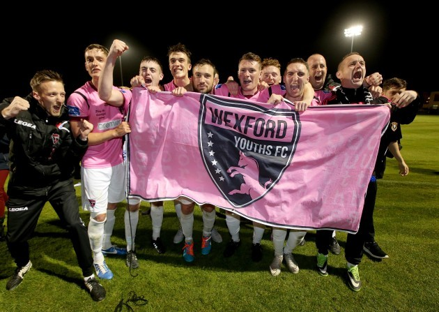 Wexford Youths celebrate after the game gaining promotion