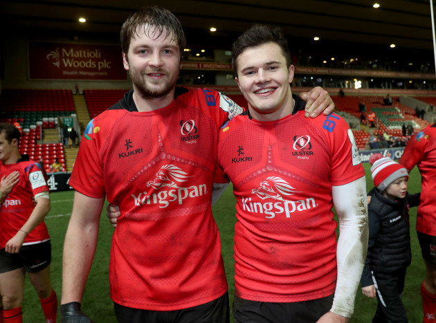Iain Henderson and Jacob Stockdale celebrate after the game