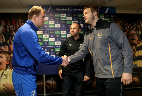 Rhys Ruddock and Joe Launchbury with Mike Adamson at the coin toss