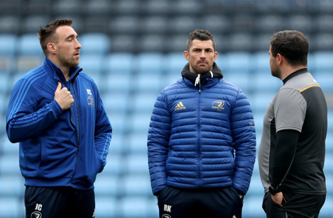 Jack Conan and Rob Kearney before the game