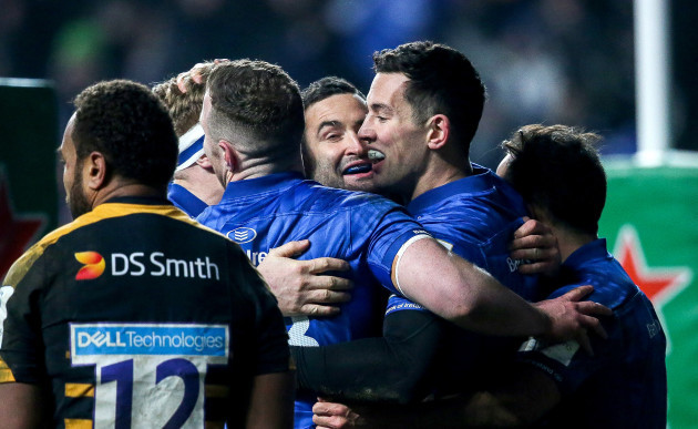 Noel Reid celebrates scoring a try with Dave Kearney, Rory OÕLoughlin and Jamison Gibson-Park