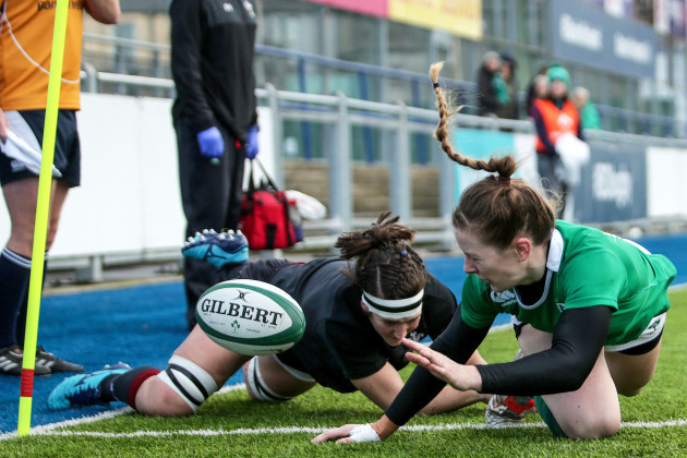 Lauren Delany is tackled