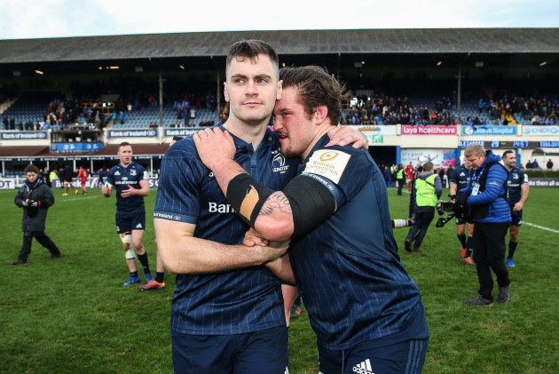 Conor O'Brien and Andrew Porter celebrate after the game