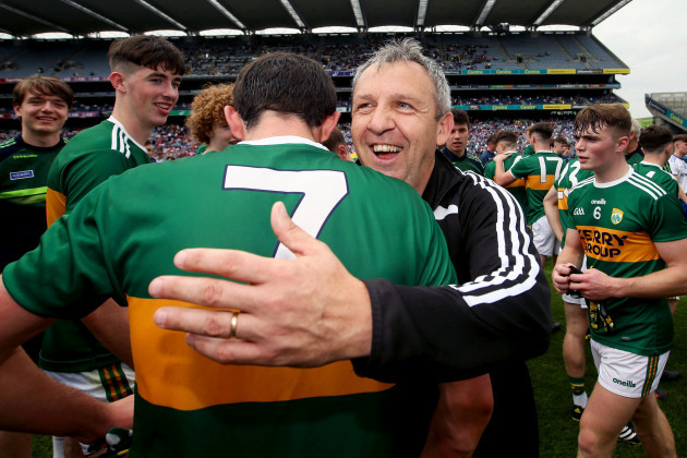 Peter Keane celebrates at the final whistle with Dan Murphy